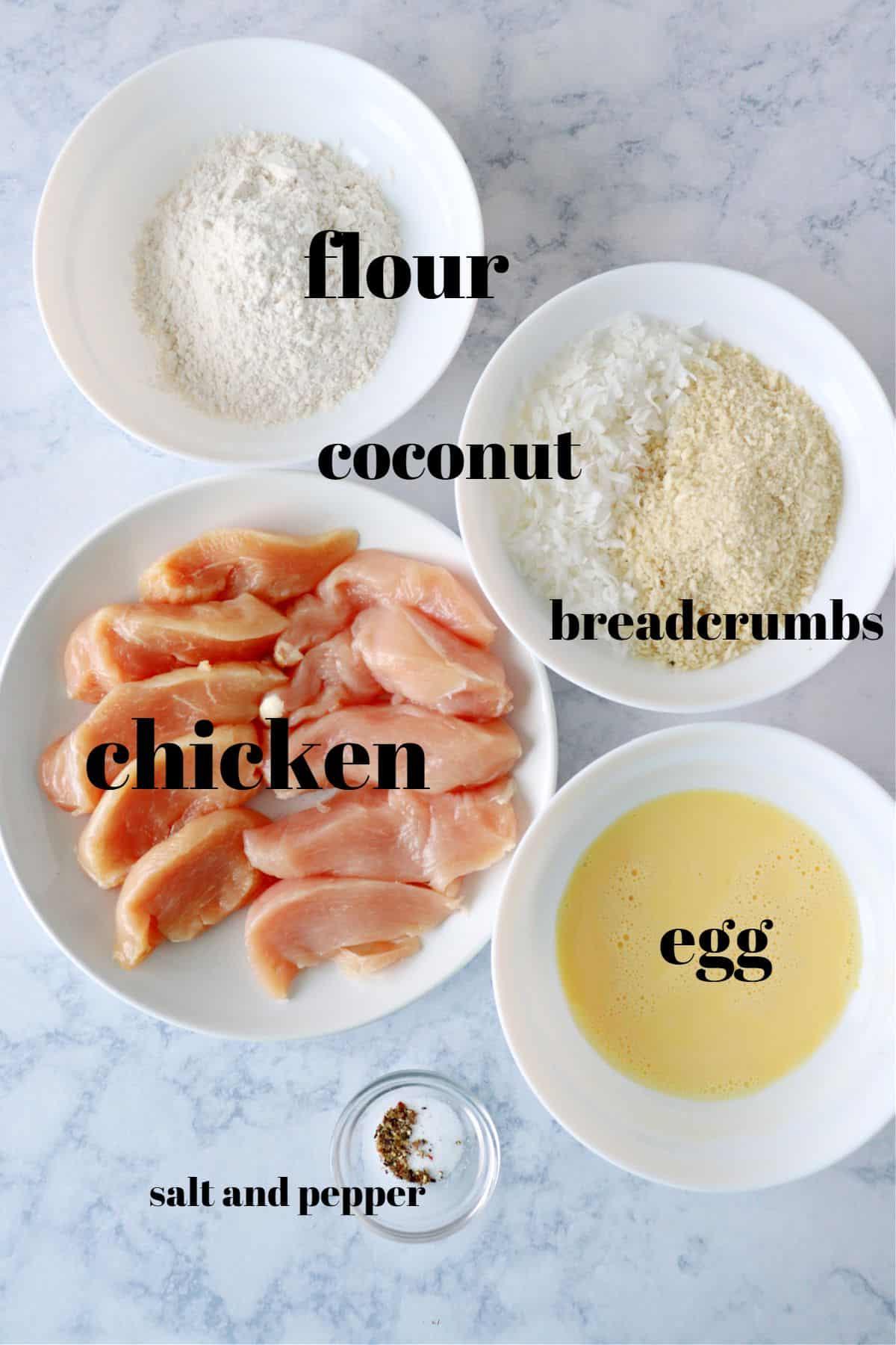 coconut chicken ingredients 1 Crispy Coconut Chicken
