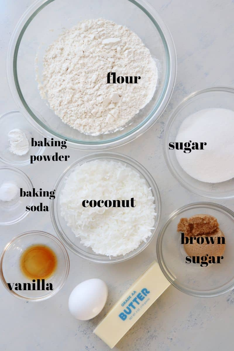 coconut cookies ingredients 1 Coconut Cookies