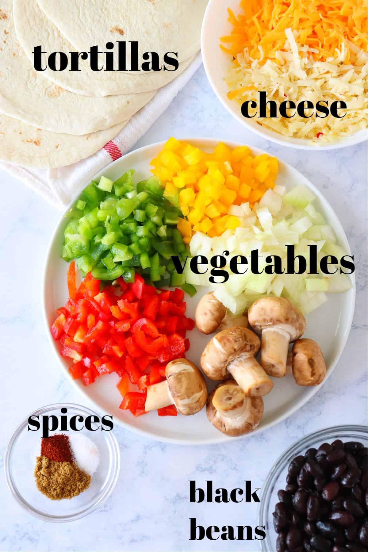 vegetable quesadillas ingredients 1 Vegetable Quesadillas