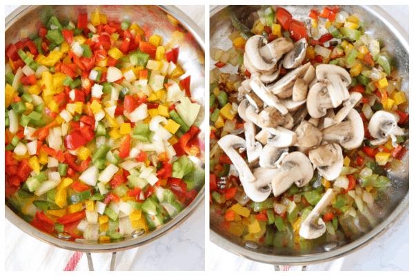 vegetable quesadillas step 1 and 2 Vegetable Quesadillas