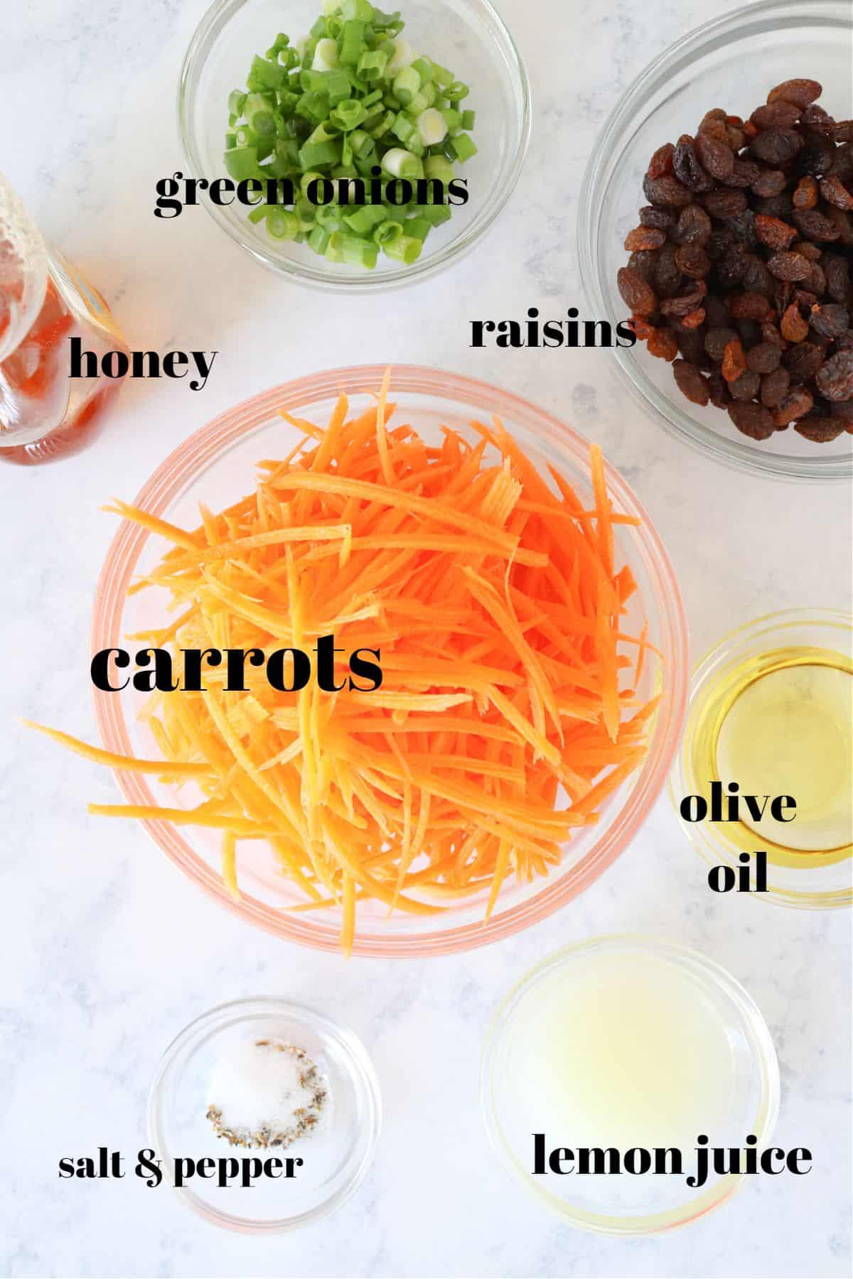 carrot salad ingredients 1 Carrot Salad