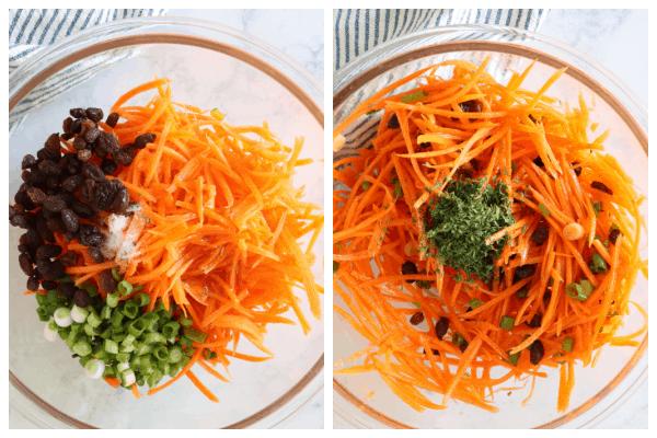 carrot salad step 1 and 2 Carrot Salad