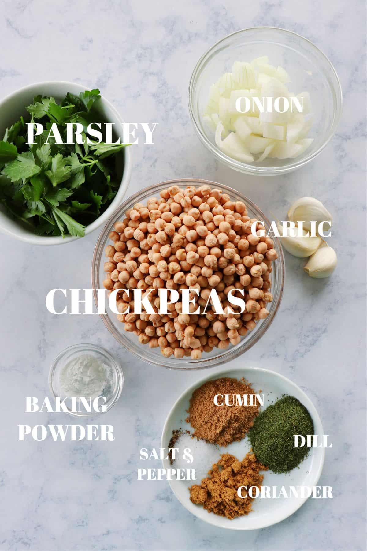 falafel ingredients 1 Falafel Recipe