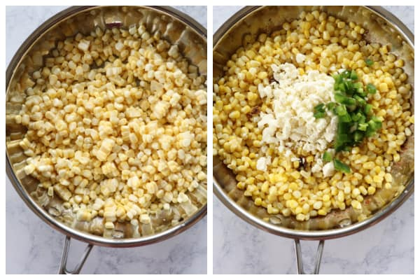 Mexican corn salad step 1 and 2 Mexican Street Corn Salad (Esquites)
