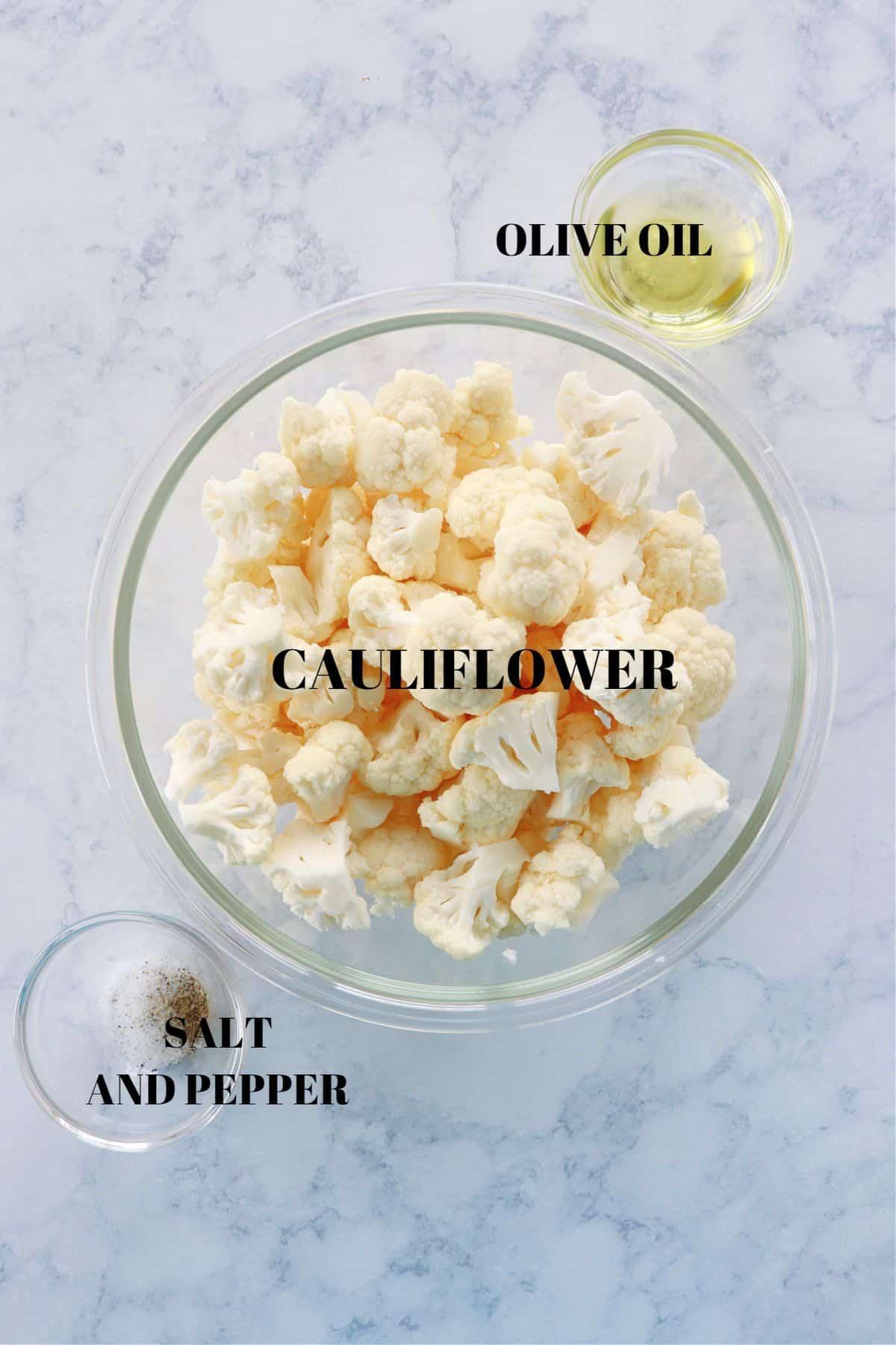 air fryer cauliflower ingredients 1 Air Fryer Cauliflower