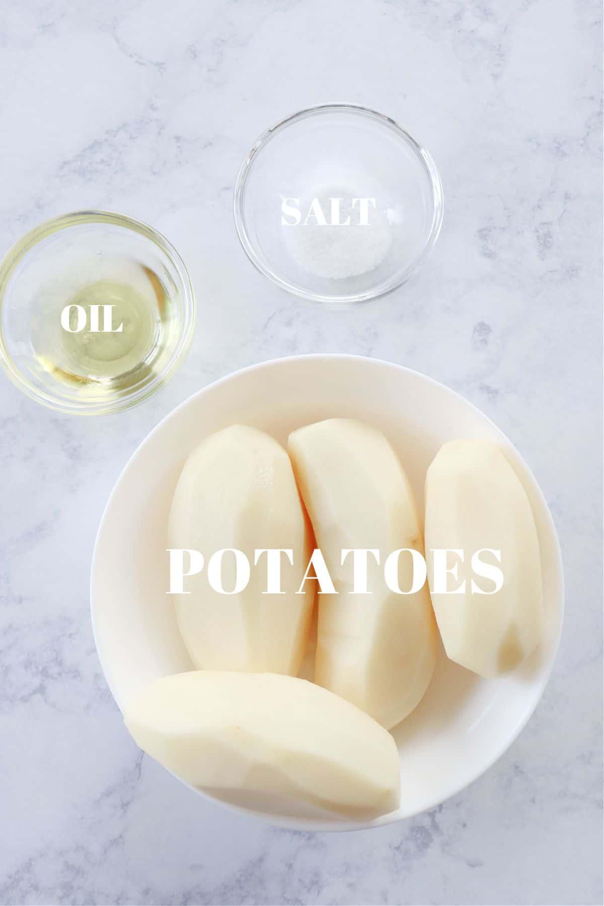 air fryer potato chips ingredients 1 Air Fryer Potato Chips