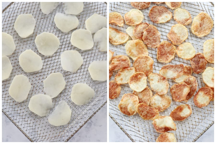 air fryer potato chips step 3 and 4 Air Fryer Potato Chips