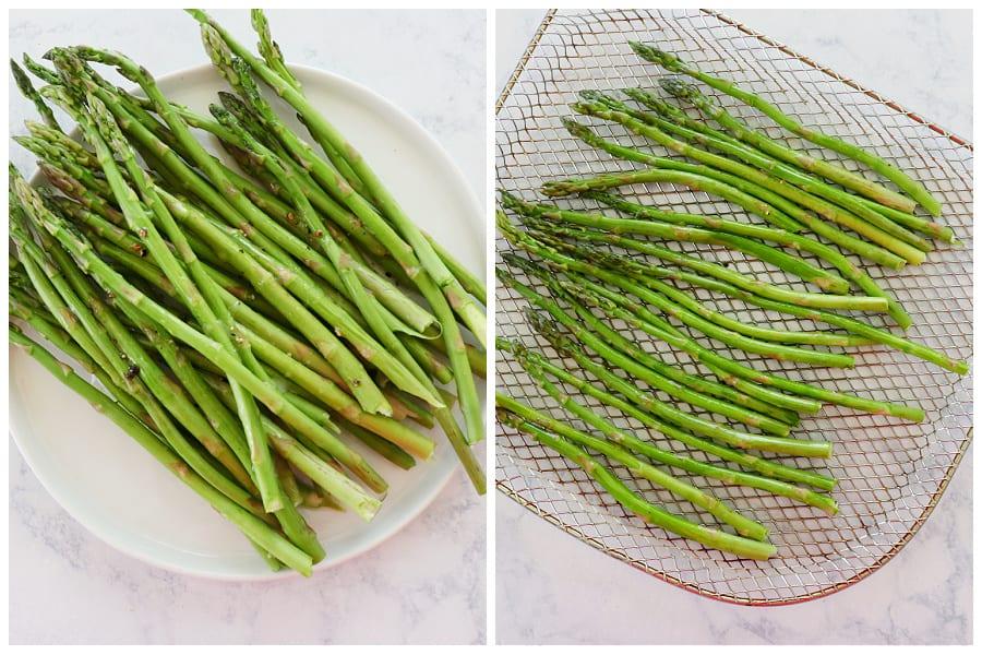 air fryer asparagus step 1 and 2 Air Fryer Asparagus