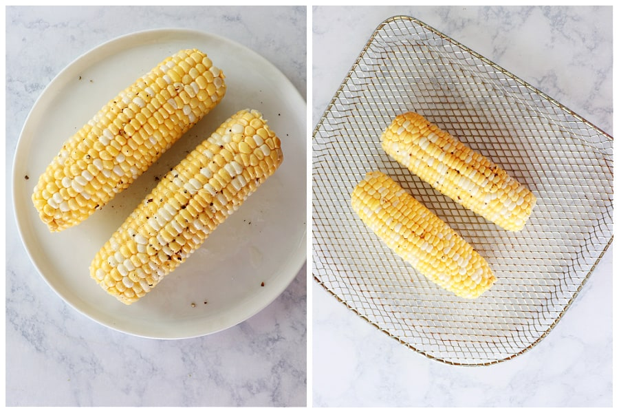 air fryer corn on the cob step 1 and 2 Air Fryer Corn on the Cob