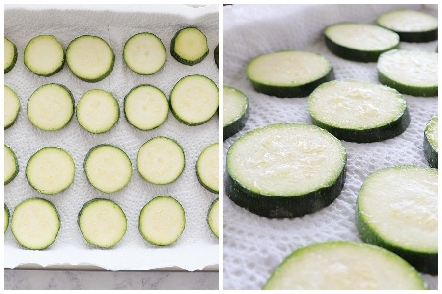 baked zucchini step 1 and 2 Cheddar Baked Zucchini