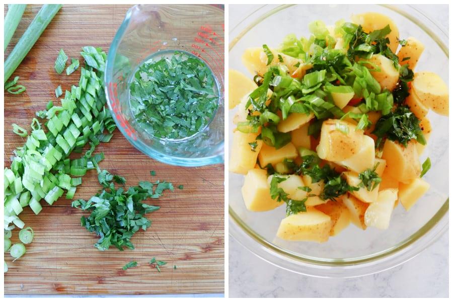 no mayo potato salad step 1 and 2 No Mayo Potato Salad