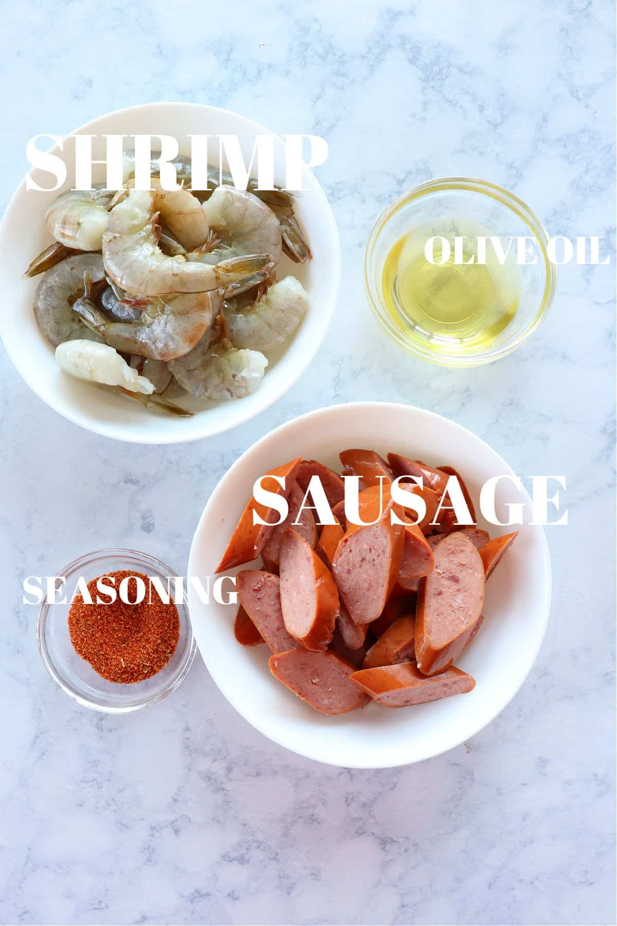 shrimp and sausage skewers ingredients 1 Shrimp and Sausage Skewers (Keto Friendly)