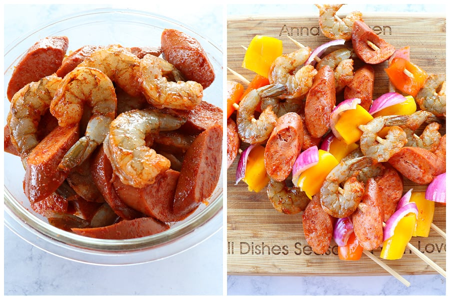 shrimp and sausage skewers step 1 and 2 Shrimp and Sausage Skewers (Keto Friendly)