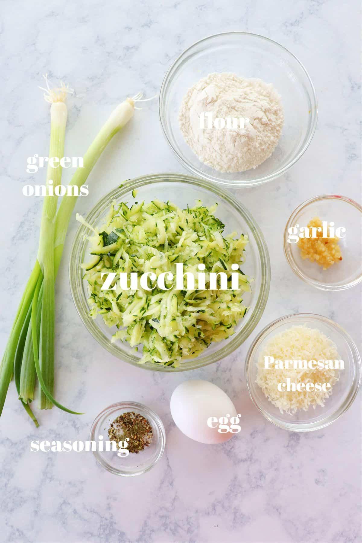 zucchini fritters ingredients 1 Zucchini Fritters Recipe