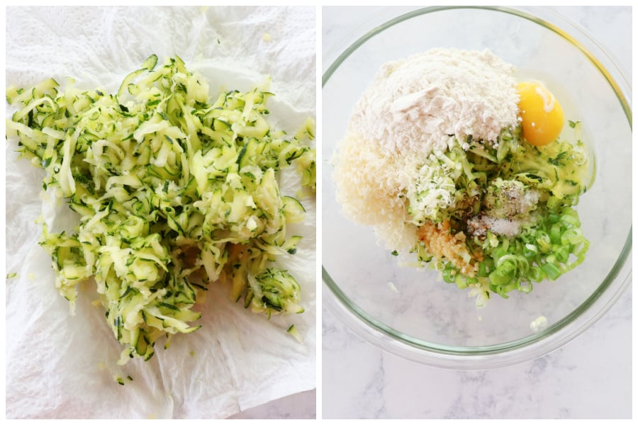 zucchini fritters step 1 and 2 Zucchini Fritters Recipe