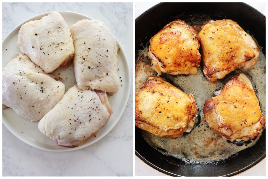 chicken fricassee step 1 and 2 Easy Chicken Fricassee