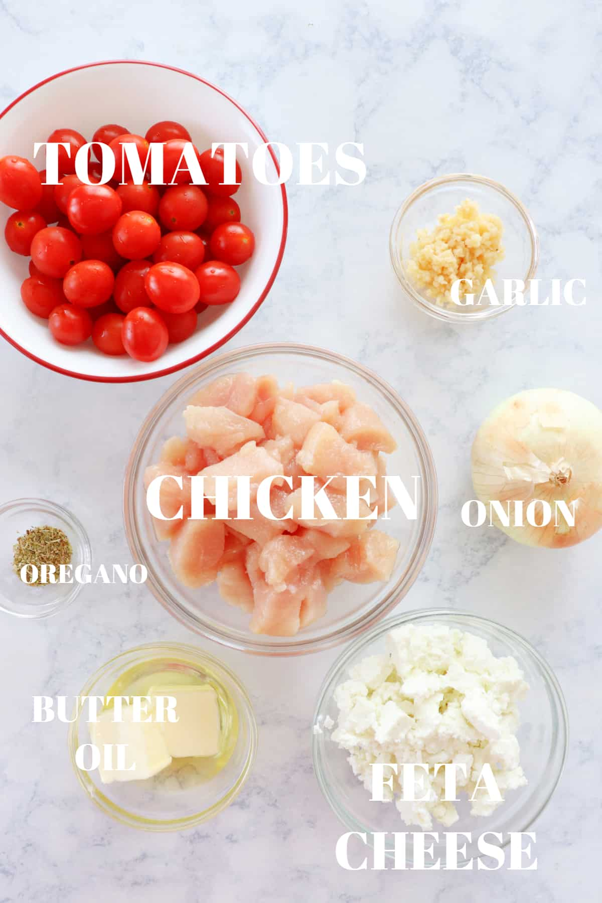 chicken with tomatoes and feta ingredients 1 Chicken Skillet with Tomatoes and Feta