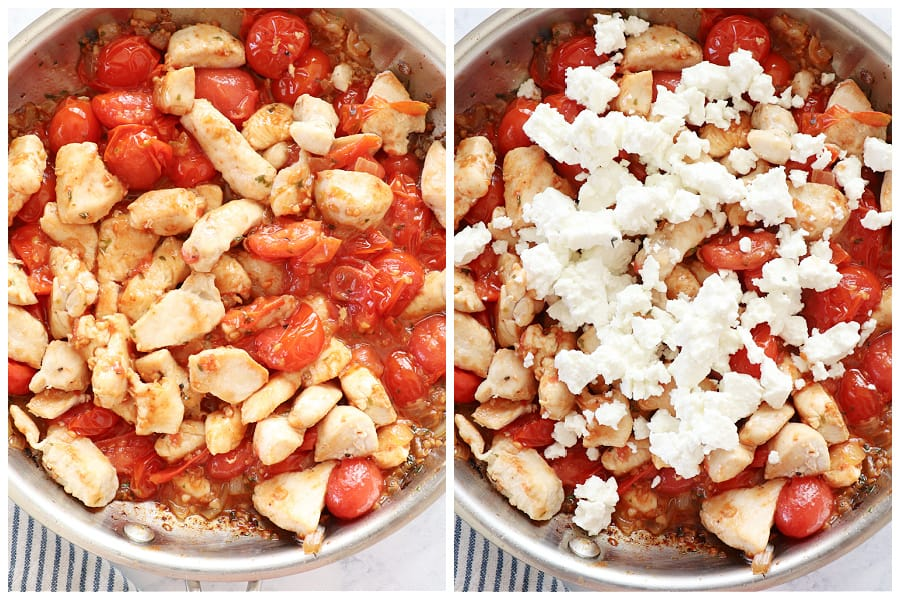 chicken with tomatoes step 7 and 8 Chicken Skillet with Tomatoes and Feta