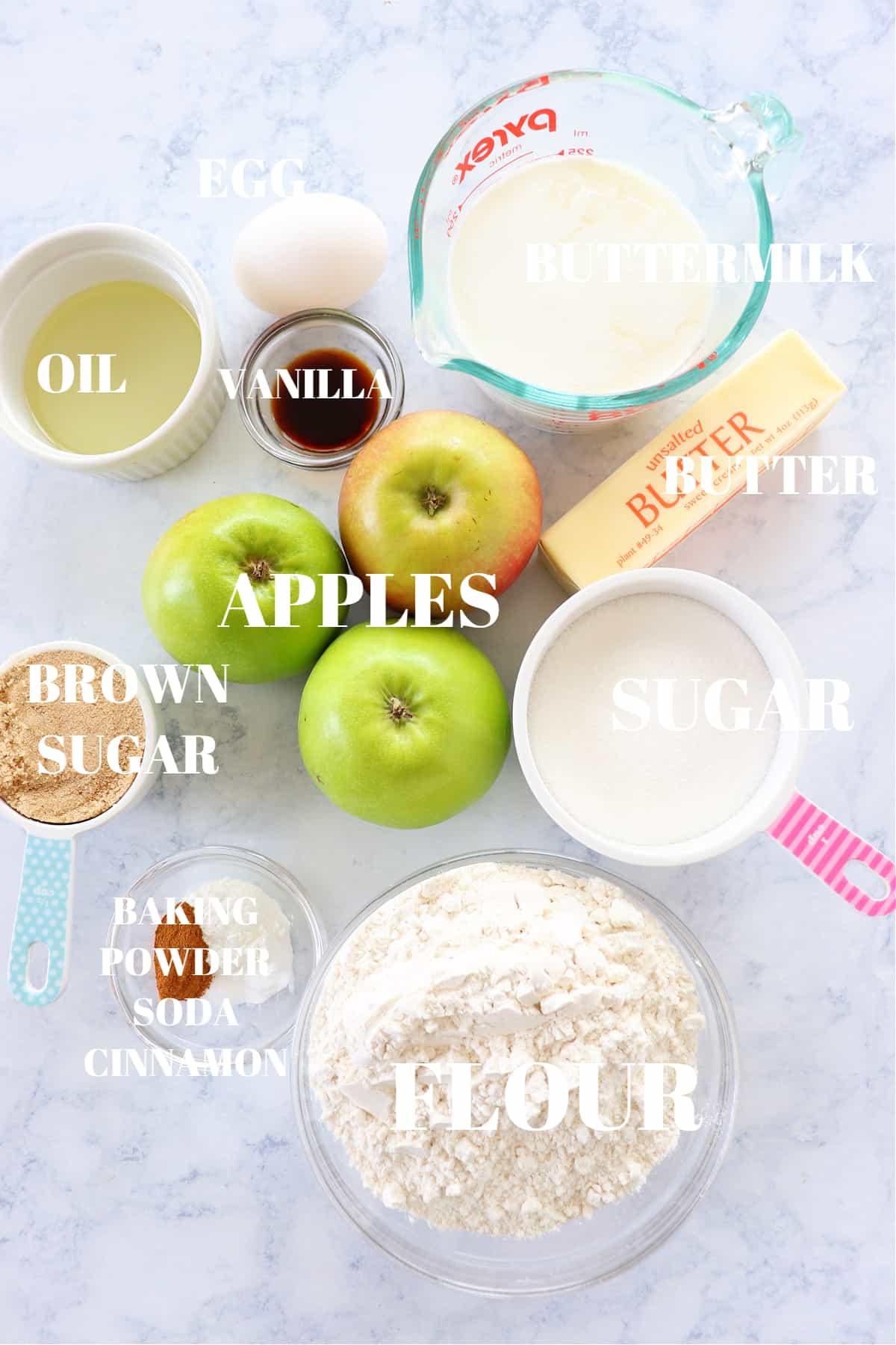 apple crumb muffins ingredients 1 Apple Crumb Muffins