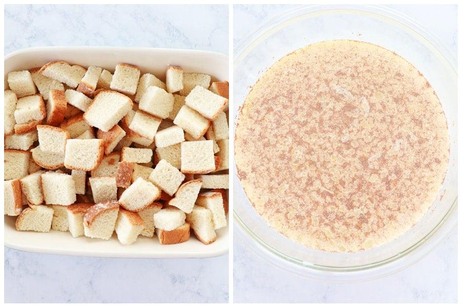 bread pudding step 1 and 2 Bread Pudding Recipe