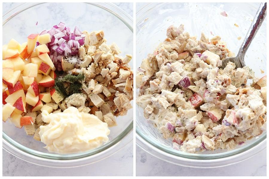 leftover turkey salad step 1 and 2 Leftover Turkey Salad
