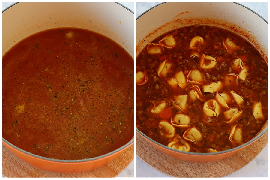 tortellini soup step 3 and 4 Tortellini Soup with Sausage